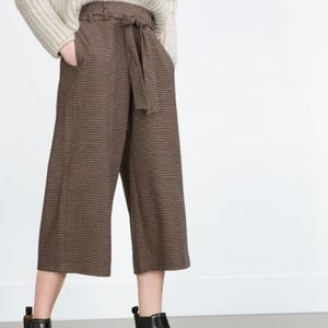 Zara Brown Cropped Pants With Tie
